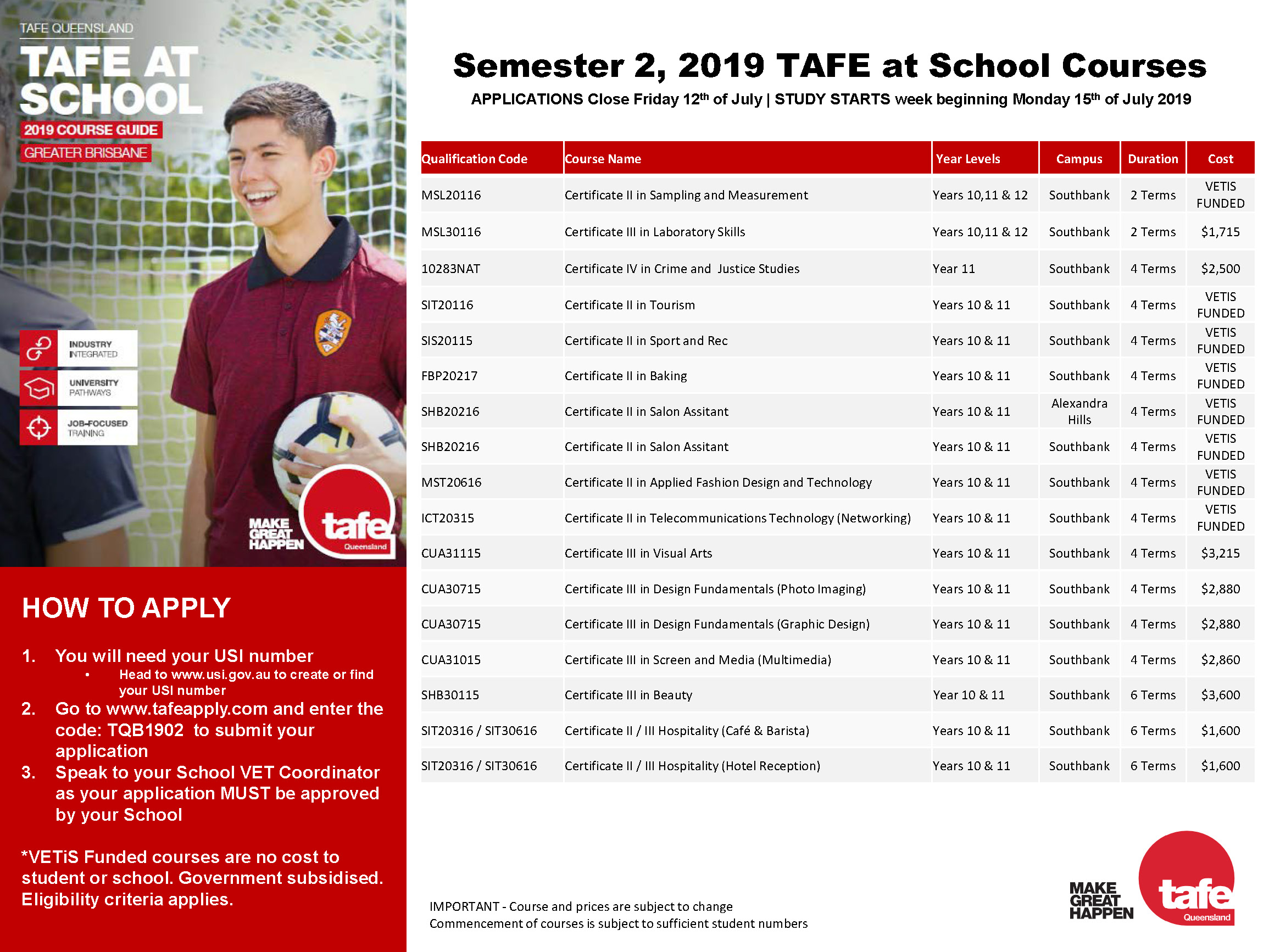 Semester 2 TAFE Courses – Mueller Connect
