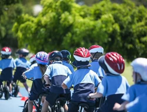 Prep Students on Balance Bikes